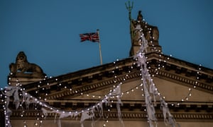Tate Britain's pediment draped in lights for Hardy's installation.