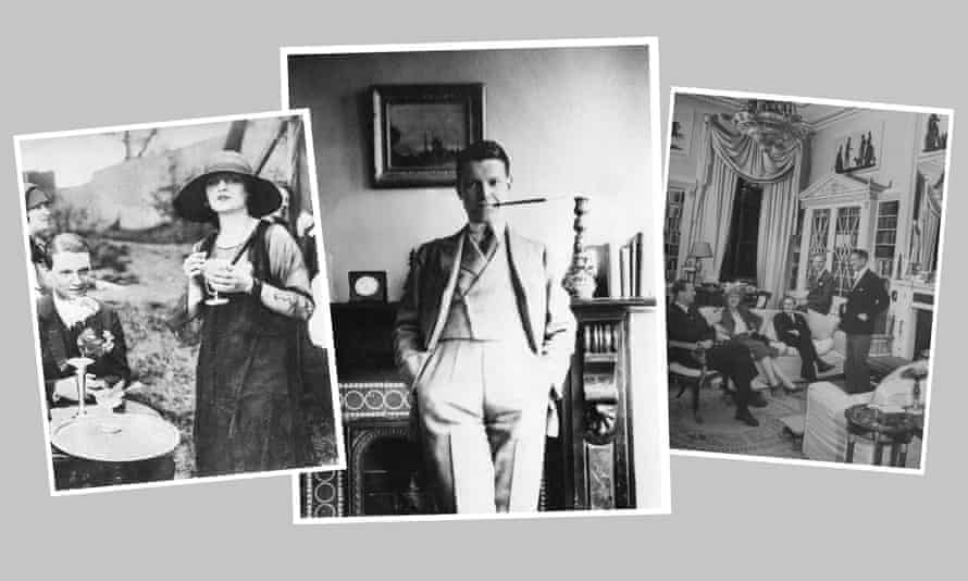 Left to right: Chips Channon with his lover, actor Tallulah Bankhead, in 1926; at Oxford in 1921; entertaining guests including another lover, Terence Rattigan (far left) at his London home in 1947.