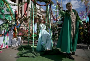 Actors in London perform scenes from A Midsummer Night's Dream