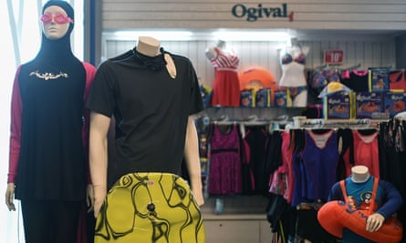 A burkini for sale alongside other beachwear in Kuala Lumpur