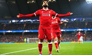 Mo Salah soaks up the acclaim after scoring Liverpool's first goal in their 2-1 win at Manchester City.
