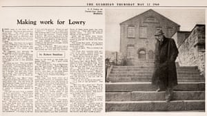 LS Lowry standing on the 24 steps in Middleton. The Guardian, 12 May 1960.
