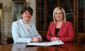 Northern Ireland's first minister, Arlene Foster of the DUP, and deputy first minister, Michelle O'Neill of Sinn Féin.