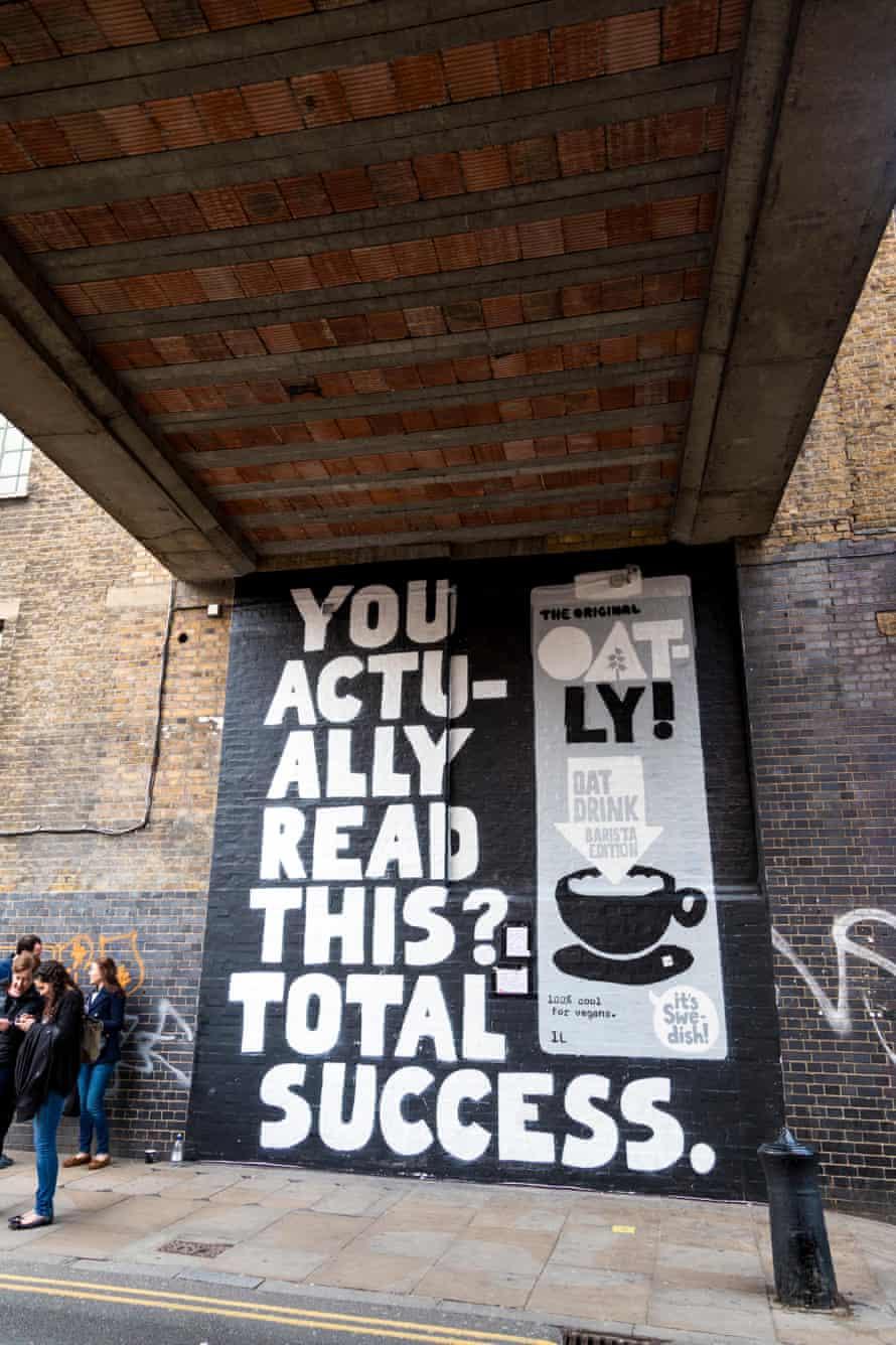 A mural advertising Oatly oat milk in Brick Lane, east London