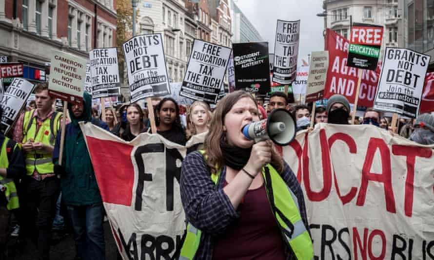 a student protest in London.