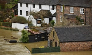 Houses surrounded by flood water in Ironbridge, Shropshire