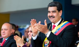 Nicolás Maduro accompanied by his wife, Cilia Flores, and Diosdado Cabello, president of the national constituent assembly, in Caracas, Venezuela, on 5 July.
