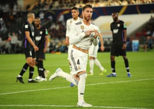 Sergio Ramos of Real Madrid celebrates scoring a goal to make it 3-0.