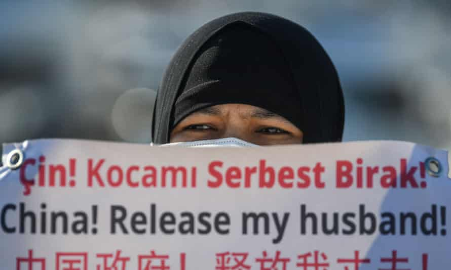 A protest in Istanbul against China's detention of Uighurs.