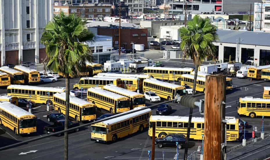 School buses in Los Angeles.