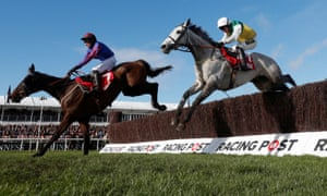 Vintage Clouds, right, running second in the Ultima Chase at the Cheltenham Festival last month.