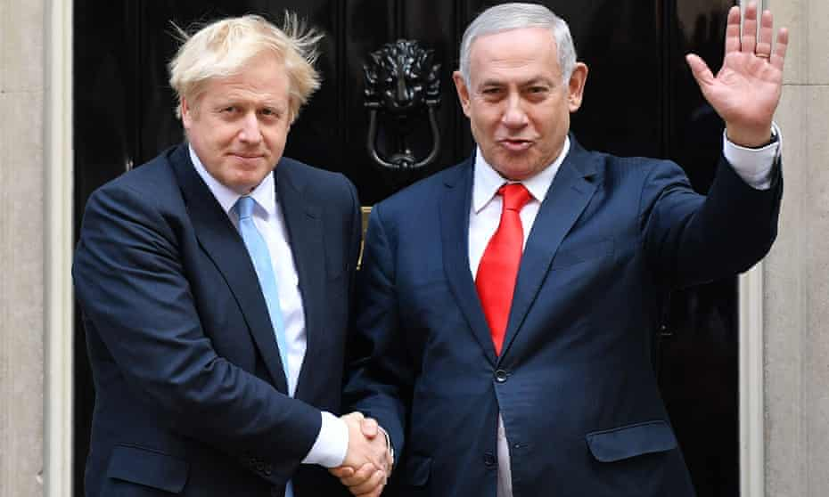 Boris Johnson and Israeli prime minister, Benjamin Netanyahu