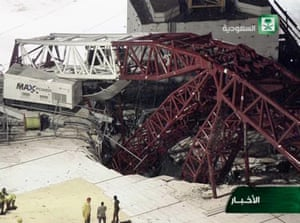 In this still image taken from video released by Saudi TV, a crane is seen collapsed over the Grand Mosque.
