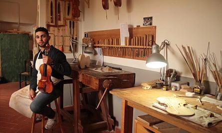 Shalalda in an Italian luthier workshop.