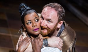 Josette Simon (Cleopatra) and Antony Byrne (Antony) in Antony and Cleopatra at the Royal Shakespeare theatre.