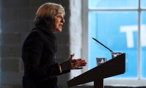 Theresa May speaks during an event to launch the Conservative party general election manifesto.