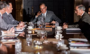 'He easily flips from confidence (bragging about the size of his penis to a busy room) to embarrassment (a Dallas crowd eager for JFK has no interest in him) and it's a pleasure to see him play something other than wisecracking support' … Harrelson in LBJ