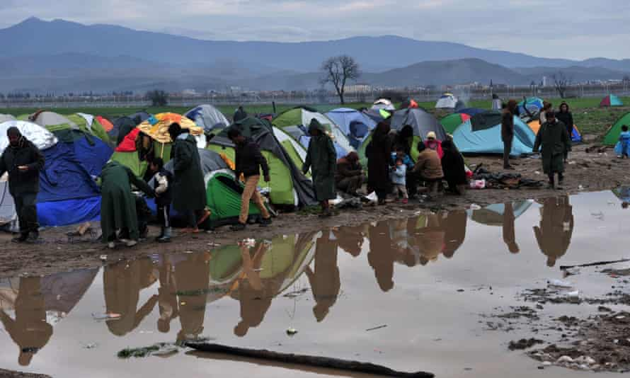 Refugees on the Greek-Macedonian border