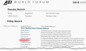 The AEI world forum agenda for 9 March 2018, showing Sajid Javid's participation