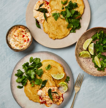 Yotam Ottolenghi's chickpea pancakes with mango pickle yoghurt.