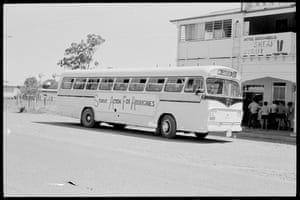 The Student Action for Aborigines bus outside the Hotel Boggabilla, where Aboriginal people were not allowed in