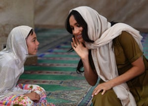 Cape Town, South AfricaMeghan Duchess of Sussex struggles to hear a girl during a visit to Auwal Mosque in Bo-Kaap