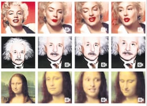 stills from gan-generated deepfake videos of marilyn monroe, albert einstein and the mona lisa