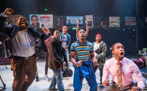A scene from Barbershop Chronicles by Inua Ellams @ Dorfman Theatre, National Theatre.