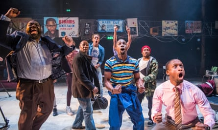 The cast in Barber Shop Chronicles at the Dorfman, National Theatre, London, in 2017.