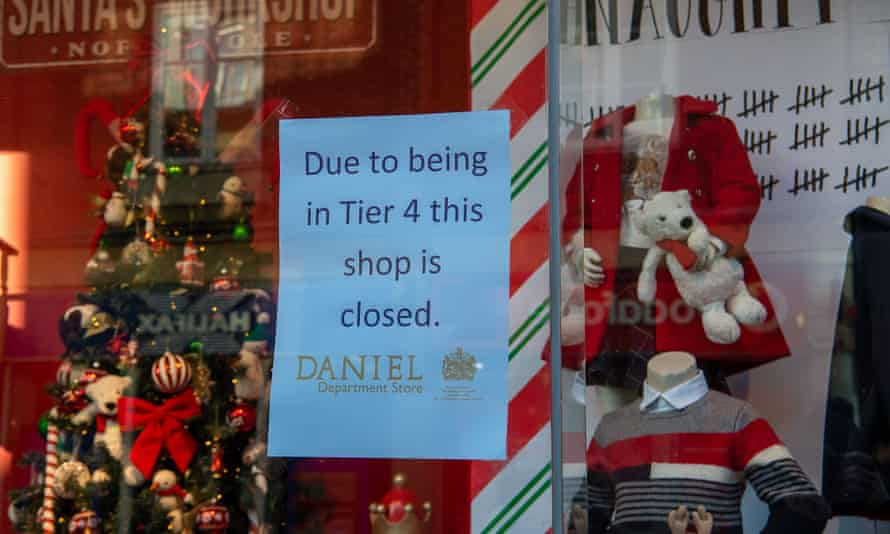 A sign in a department store in Windsor advising customers that the shop is now shut due to the area being in Tier 4, 20 December 2020