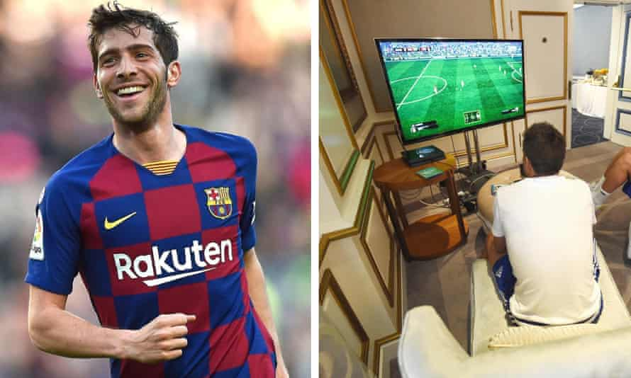 Sergi Roberto of Barcelona is among the players taking part in La Liga's Fifa tournament on the Playstation.
