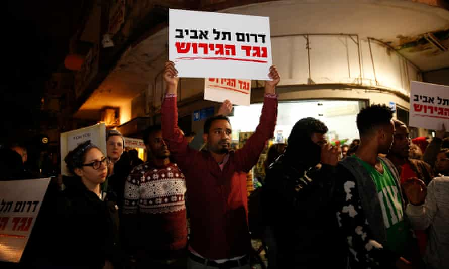 Demonstrators in Tel Aviv rally against Israel's plan for the forced expulsion of Africans.