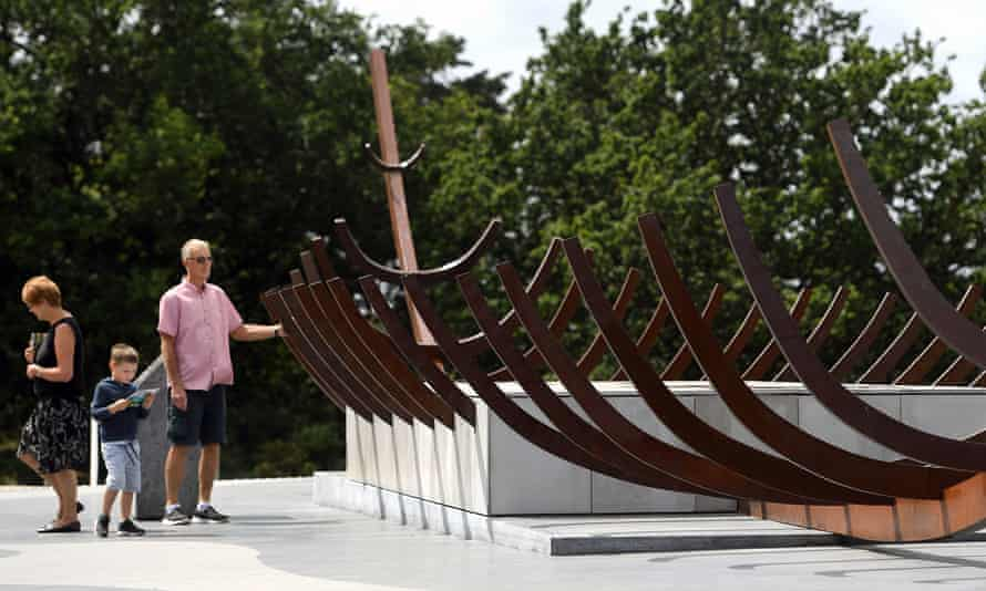 The rusted steel sculpture of the burial ship, thought to be the final resting place of King Raedwald.