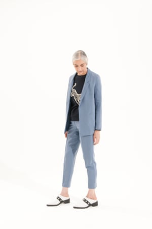 pale blue blazer and trousers Asos, black jumper with white design, Whistles, black and white slip on shoes, Attribute