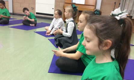 A mindfulness class at English Martyrs primary school on Merseyside.