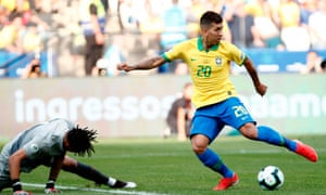 Roberto Firmino beats Peru goalkeeper Pedro Gallese with a 'no-look' finish as the Copa América hosts found form.