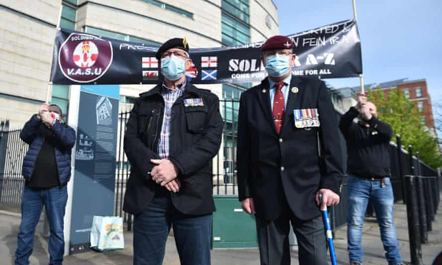 Veterans and supporters pictured outside the court in Belfast