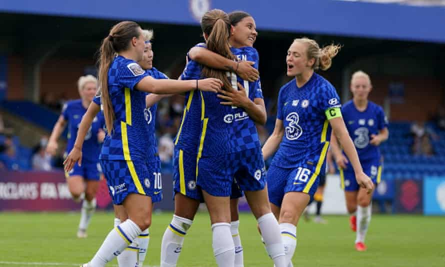 Sam Kerr celebrates scoring Chelsea's third goal in their one-sided win over Everton