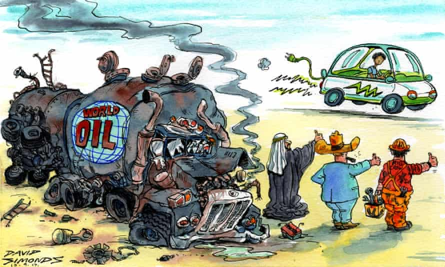 Cartoon of an electric car driving past a broken-down oil tanker with a rig worker, a sheikh and a Texas oilman thumbing a lift.
