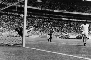 During England's match against Brazil, Banks thwarted Pele's goalbound downward header with a remarkable save