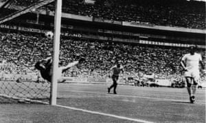 Gordon Banks makes his famous save from Pelé at the 1970 World Cup.