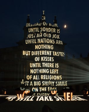Speaking truth to power … Holzer projected a dissenting text on to Blenheim Palace last year.