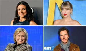 Clockwise from top left: Julia Louis-Dreyfus, Taylor Swift, Benedict Cumberbatch and Hillary Clinton