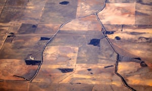 Roads and drought-affected farmland