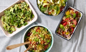 Clockwise from top: raw courgette with chilli and mint; panzanella; orzo with oven-dried tomatoes, olives and saffron; smacked cucumber with green chilli and coriander