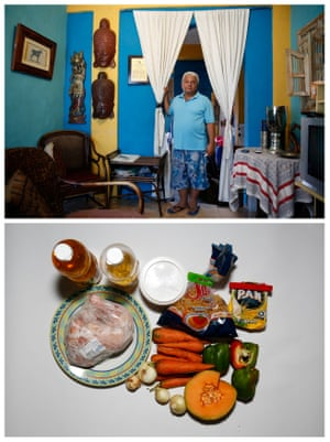 """A combination photo shows Duglas Sanchez posing for a picture (top) and the food that he has at home in Caracas, Venezuela April 23, 2016. """"We are eating in a bad way, we can not eat a balanced way. If we had lunch, not dinner and if we had dinner, not breakfast,"""" Sanchez said."""