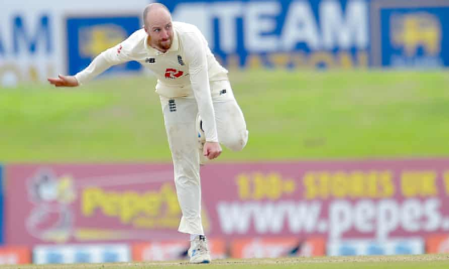 The Somerset and England spinner Jack Leach in action against Sri Lanka.