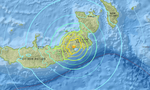 An earthquake of magnitude 6.9 struck off the southern coast of Papua New Guinea's New Britain island.