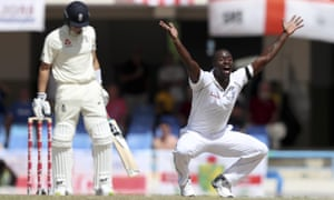 West Indies' Kemar Roach unsuccessfully appeals for the wicket of England's Joe Denly.