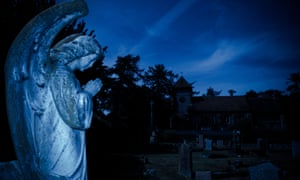 A cemetery in moonlight